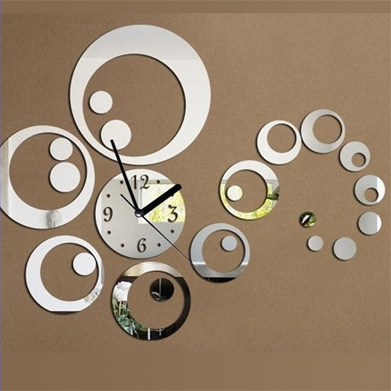 Home decor large decorative wall clocks circle design horloge murale stickers mirror effect for Plaque decorative murale