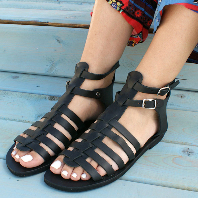 Summer Women Shoes Flat Beach Sandals Ladies Fashion Roma Flat Solid Peep Toe Sandals Casual Shoes Sandales Size 36- 43