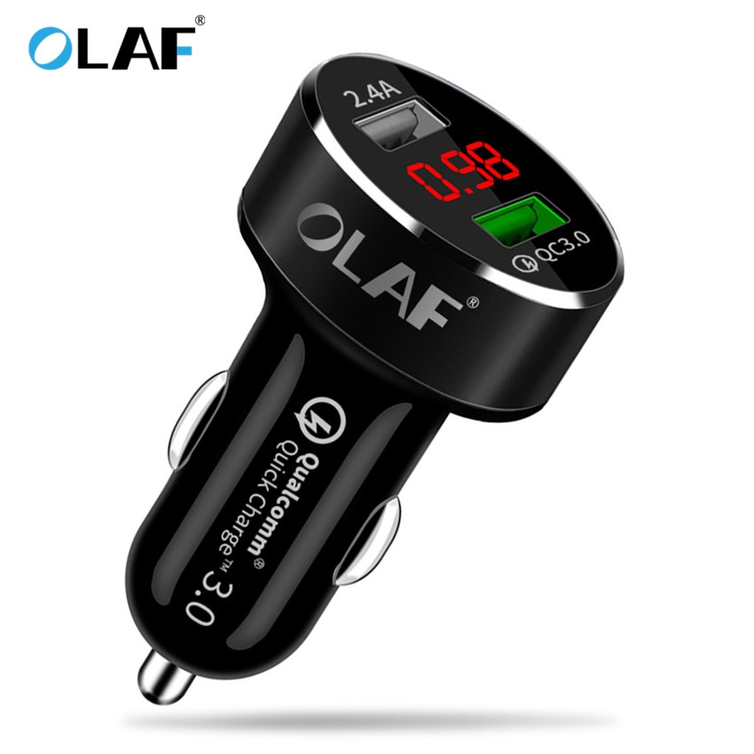 Quick Charge 3.0 Car Charger Digital Display Dual USB For