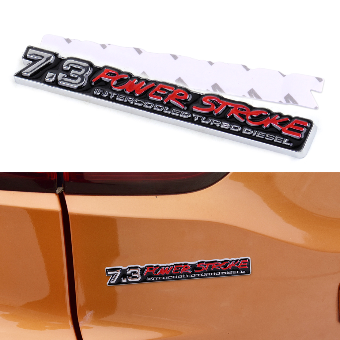 DWCX Car Boot Truck 7.3 Powerstroke Intercooled Turbo Diesel Emblem Badge Decal Sticker for VW Audi BMW Honda Hyundai Kia Ford