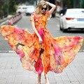 The 2017 summer women's boutique Silk Dress Chiffon Printed Silk dress Bohemia Beach Dress