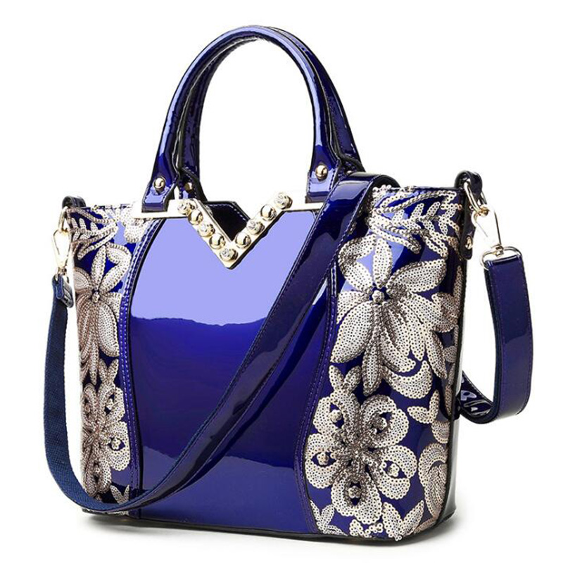 Luxury Women Bag New 2017 Europe Fashion Sequin Embroidery Patent Leather Famous Brands Designer Handbag Women Messenger Bags fashion bags for women 2018 sequin embroidery luxury patent leather brand designer handbag women messenger bag bolsa feminina