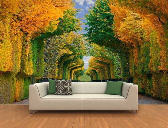 Etiqueta de la pared 3d rastro en ambos lados de bosques for Murales en 3d para salas