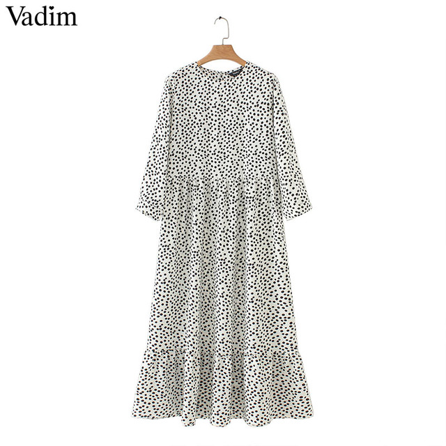 Women Dots Print Maxi Dress...