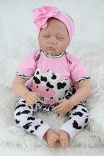 Lifelike Sleeping Reborn Baby 22″ Vinyl Dolls Stuffed Body Adorable Toys Girls Gifts Playmate