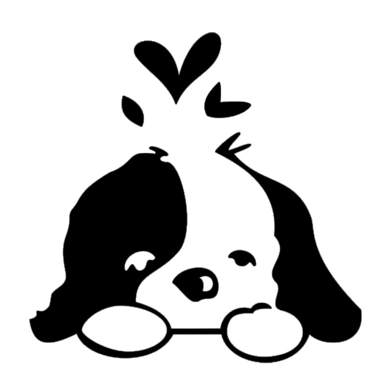 15.7*15.7CM Lovely Pet Dog Car Stickers Reflective Vinyl Decal Car Styling Bumper Accessories Black/Silver S1-0924