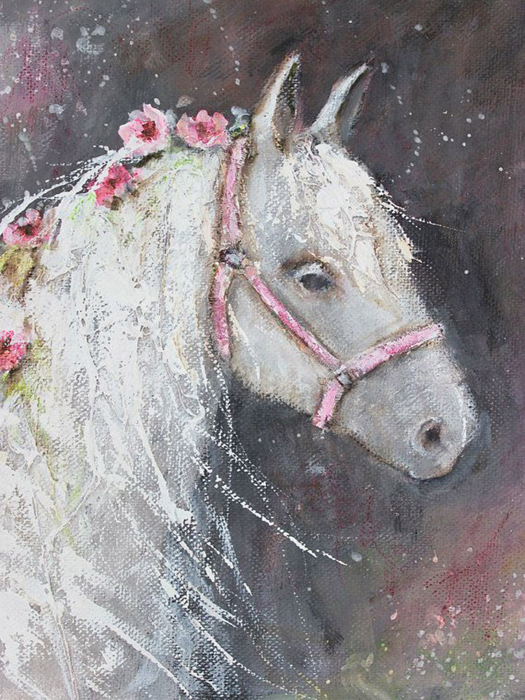 Factory Wholesale Price Supply High Quality Living Room Wall Art Decor Paintings Beautiful Handmade White Horse Oil Painting