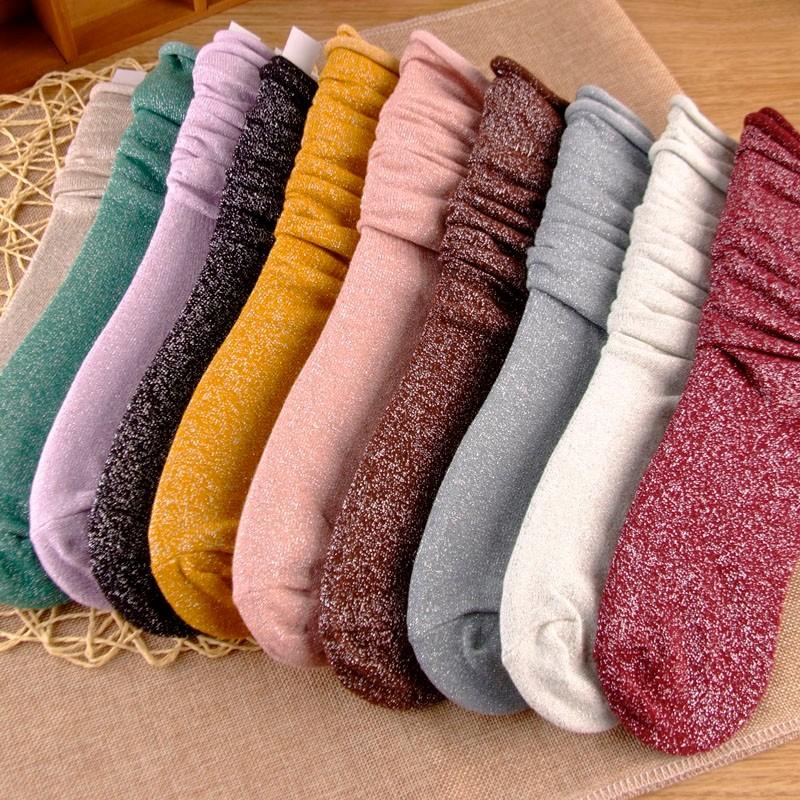 Fashion Long Socks Women Winter Cotton Happy Socks Funny Shiny Loose Glitter Socks Thick Warm Edge Curl Elegant Christmas Socks 14