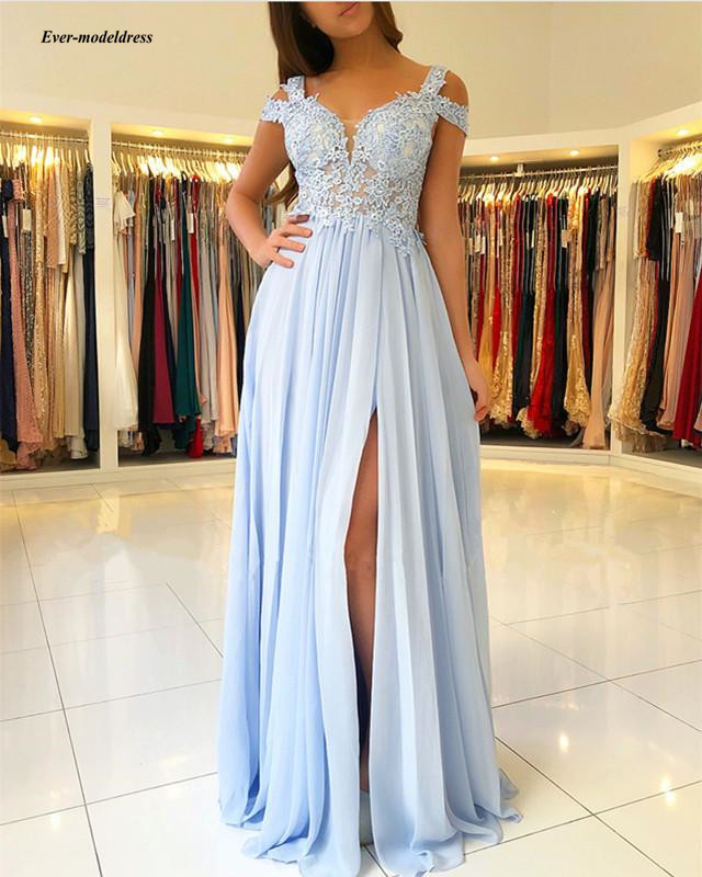 Sky Blue Bridesmaid Dresses 2020 Long Side Split Off Shoulder Lace Appliques Prom Party Gowns Wedding Guest Maid Of Honor Dress