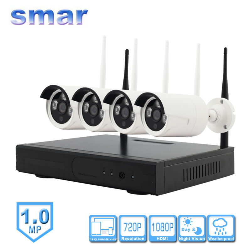 цена Smar 4CH CCTV HDMI Output NVR System Waterproof 720P HD Wireless WIFI IP Camera Home Security Surveillance System DVR Kit