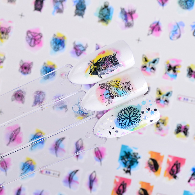 Image 3 - 12 Design Watercolor Nail Sticker Decals DIY Owl Feather Flower Slider Tattoos Manicure Wraps for Nail Art Decoration BN409 1200-in Stickers & Decals from Beauty & Health