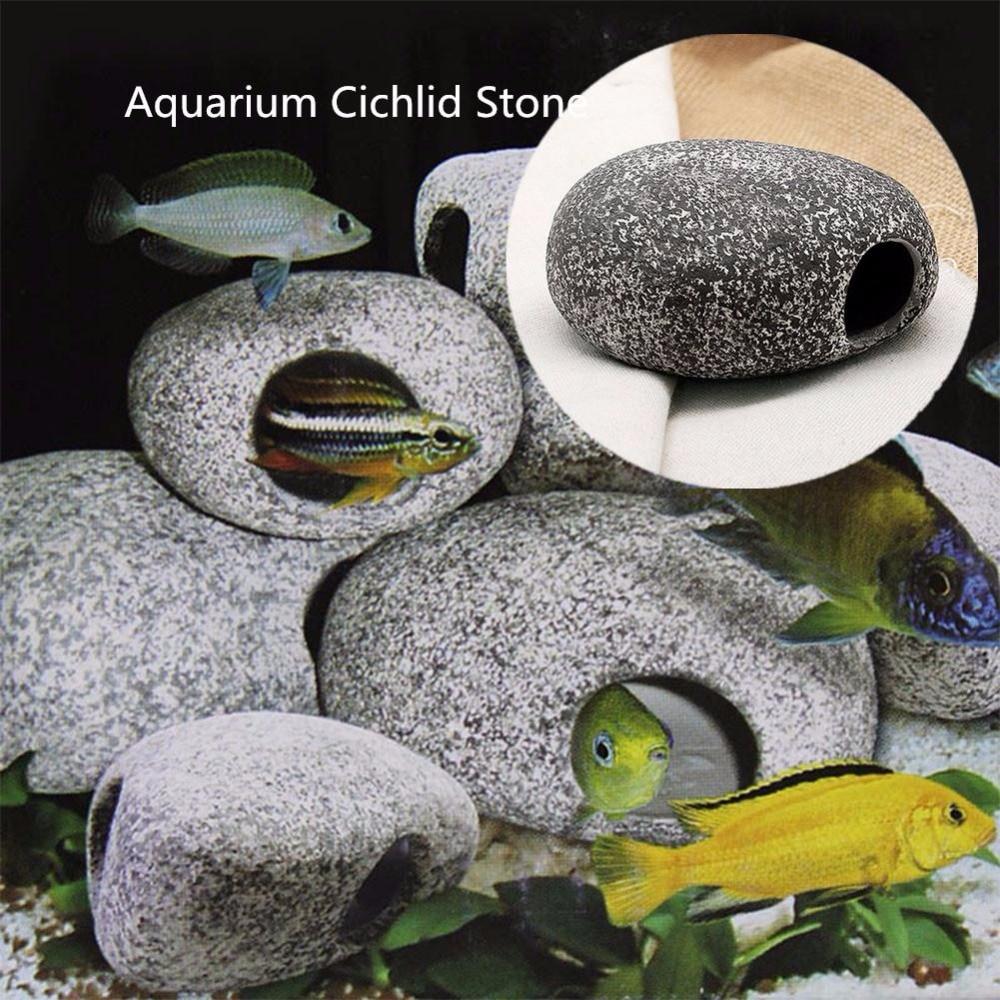 Cichlid Piedra Cerámica Roca Cueva Acuario Adorno del tanque de - Productos animales