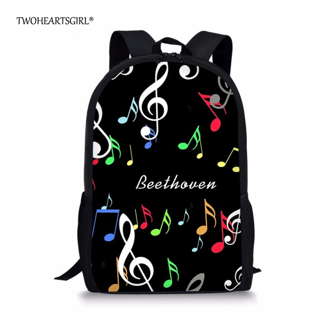 Twohearts Black Music Notes S School Bag Classic Primary Children Kids Book Bags Personalized