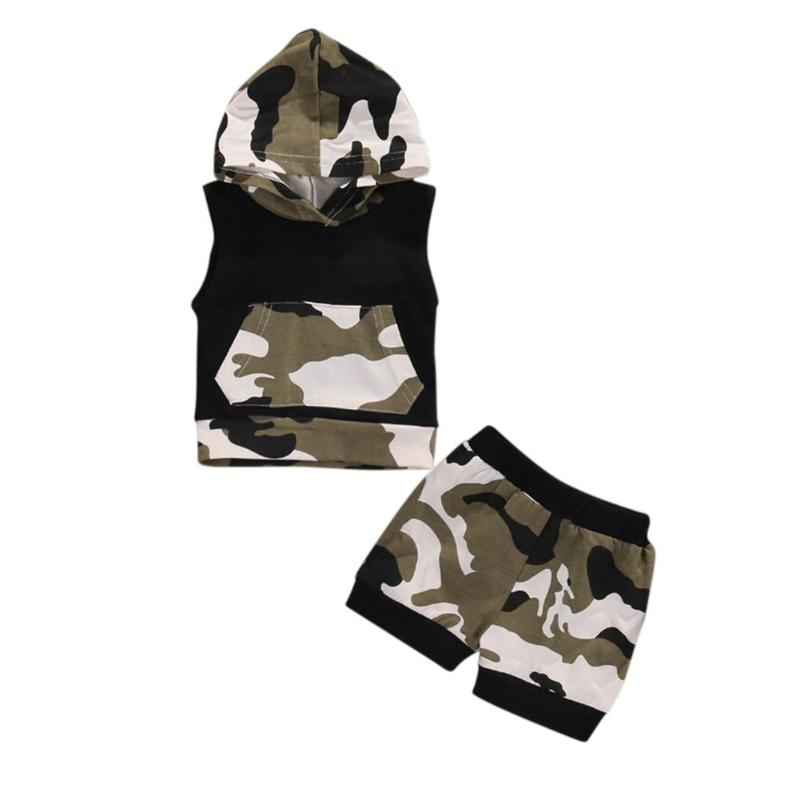 Summer 2pcs/Set Newborn Toddler Baby Boys Camouflage Sleeveless Hooded Top Shorts Infant Outfits Clothing