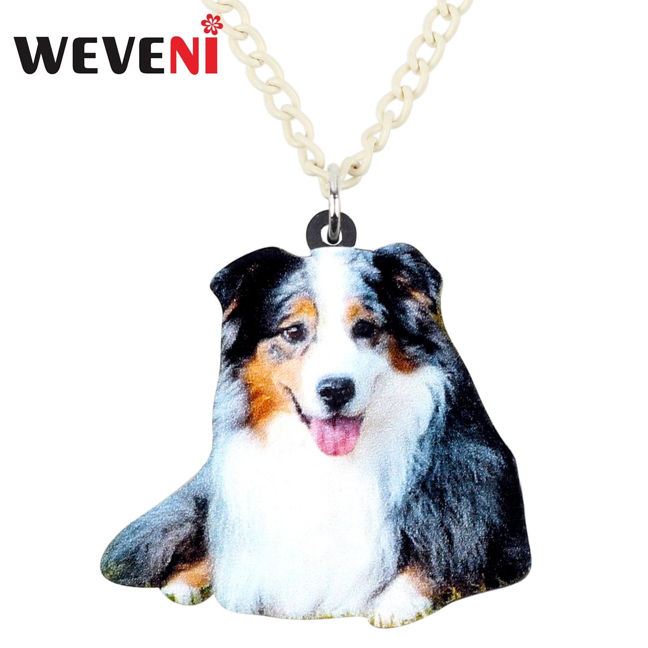 WEVENI Acrylic Smile Australian Shepherd Dog Necklace Pendant Collare Fashion Animal Pets Jewelry For Women Girls Friends Gift