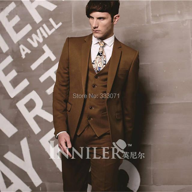Online Shop Groom Suit Wedding Suits For Men 2016 Brown Mens Suits ...