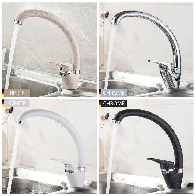 LEDEME Tubo de flexión para grifo de cocina, rotación de 360 grados con funciones de purificación de agua, pintura en aerosol cromada, mango único L5913