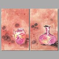 2 Adet Büyük Boy Kırmızı Çin Tarzı Dekorasyon Vazolar Duvar Sanatı resim Şarap Pot Oturma Odası Ev Dekorasyonu Için Tuval Boyama çerçevesiz