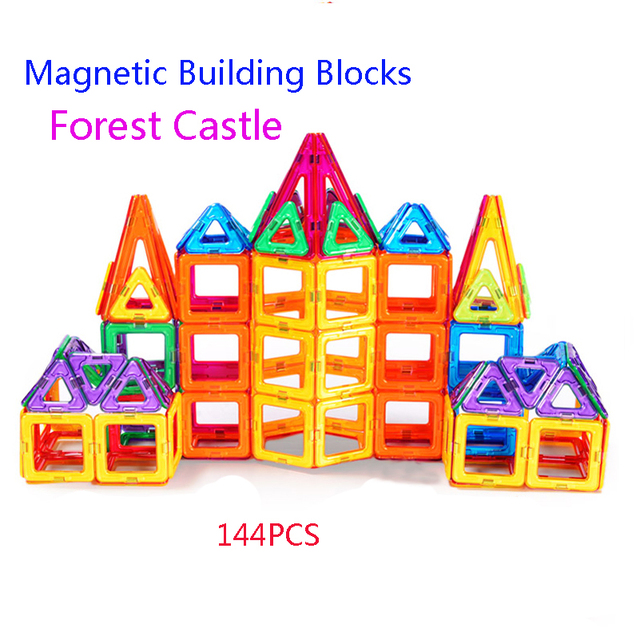 144pcs Magnetic Constructor Forest Castle Model Square Triangle