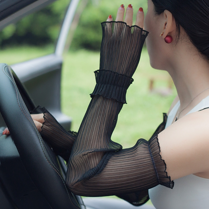 Woman Gloves Summer Sunscreen Sleeve Female Long Style Lace Gloves Thin Anti-UV Driving Fingerless Mittens Arm Sleeve FS13