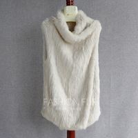 FXFURS Knitted rabbit Fur Coat Heap Turtleneck Double Faced Fur Vest Sweater with Sleeveless Fur Waistcoat 2 Use