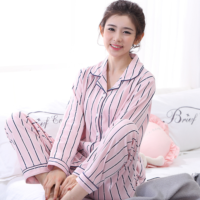 Spring Autumn Long Sleeved Cotton Women s Pajamas Set Femme Striped Sleepwear  Girls Pyjamas Mujer Lady Casual Home Clothing 3XL 9feaed0b9
