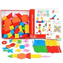 Մանկական փայտե խաղալիքներ Կրթական մաթեմատիկա Recանաչելով երկրաչափական թվերը Գույնզգույն համարներ / ձողեր