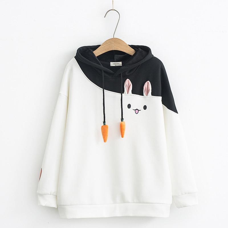 Japanese Women Hoodies Anime Lovely Pullover Kawaii Rabbit Sweatshirt Tracksuit Cute Bunny Graphic Outerwear Pink Black Hoodie in Hoodies amp Sweatshirts from Women 39 s Clothing