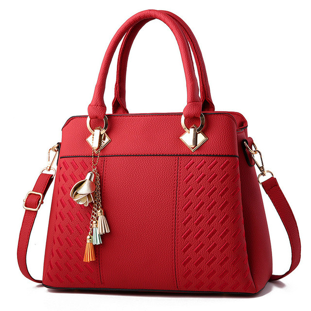 2018 Bags Wanita Ringkas Fashion Gaya Chic Office Lady Handbags Padat Warna  Anggur Merah Khaki Hitam c240cc86d8