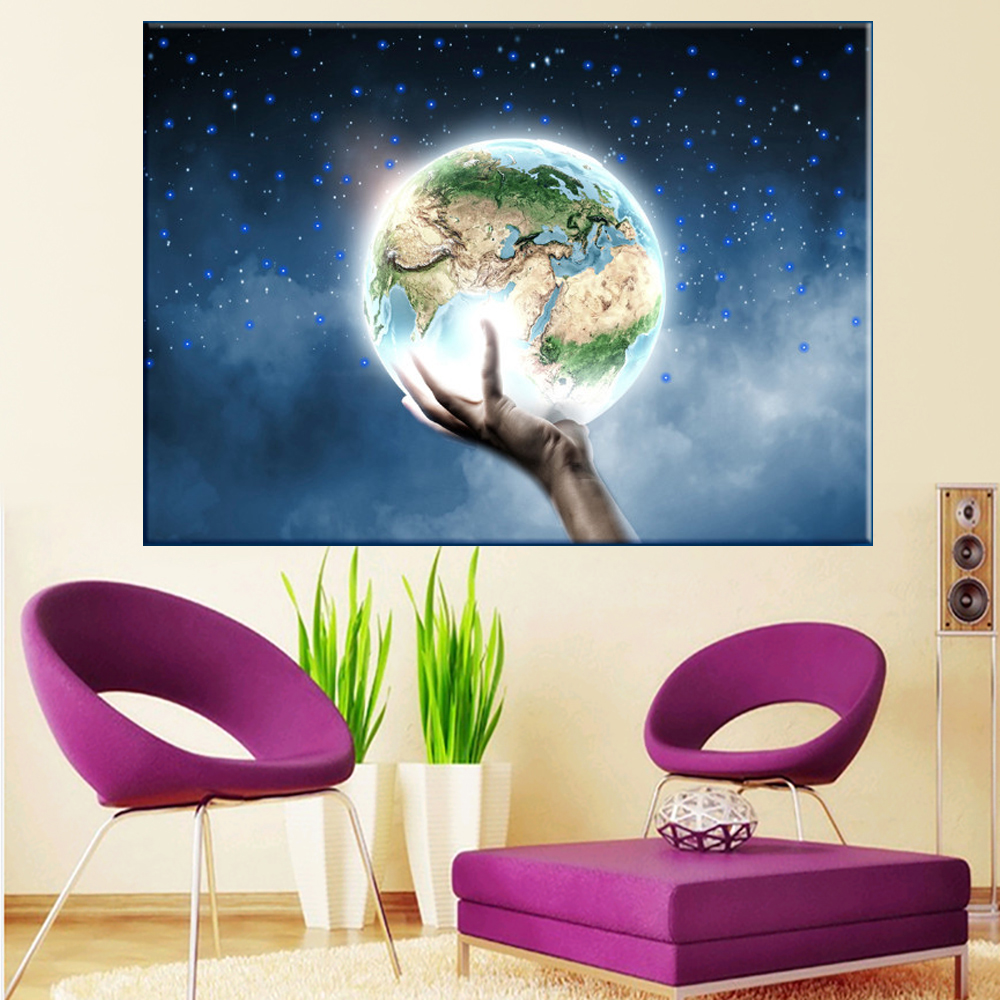 LED Canvas Painting Landscape The Earth in my Palm LED Flashing Optical Fiber Picture Gift for Home Decoration