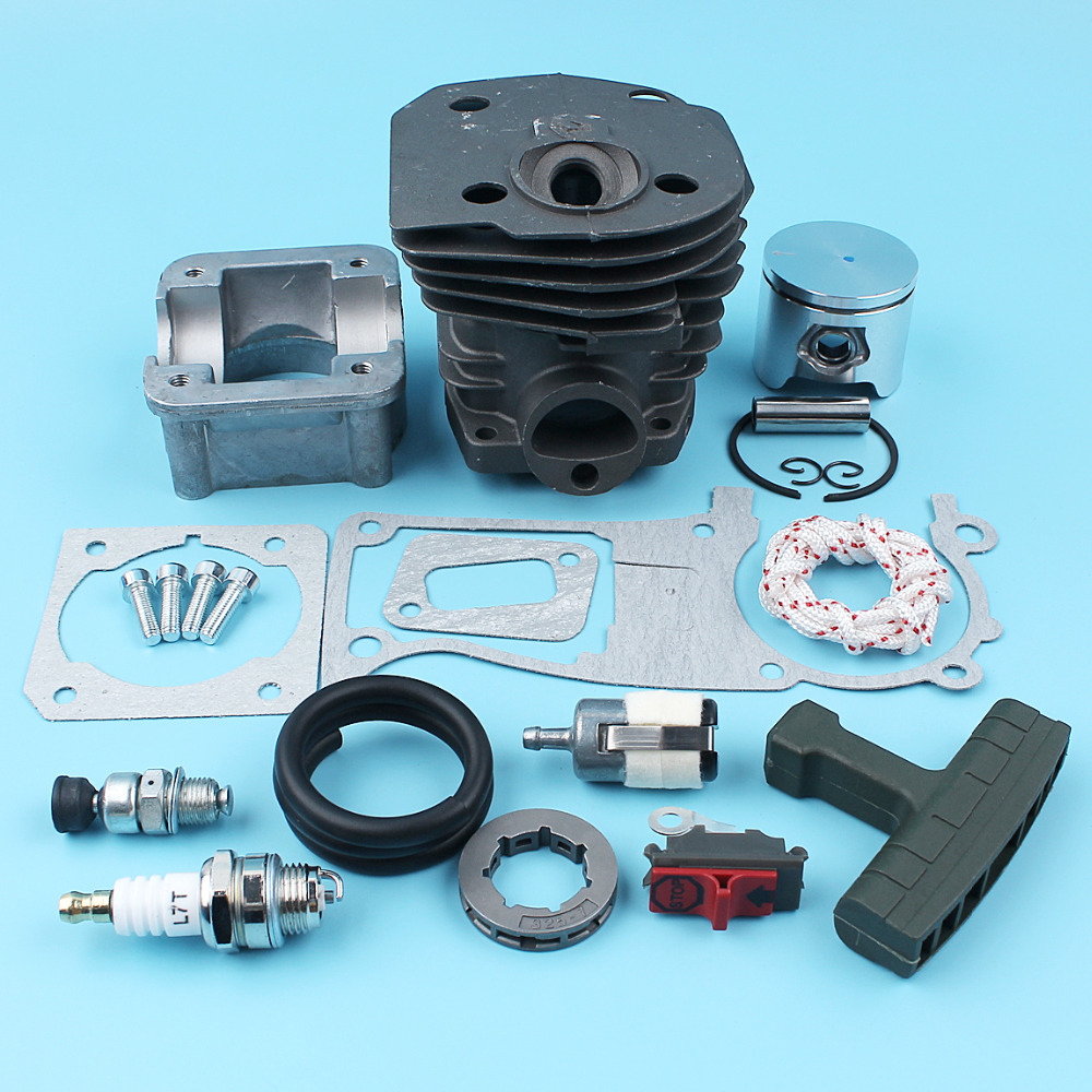 44mm Cylinder Piston Pan Kit For Husqvarna 340 345 346 351 353 350 Chainsaw Decompression Valve Starter Hand Grip Rim Sprocket 44mm cylinder head piston gasket kit for husqvarna 350 346 246xp 351 353 chainsaw 503869971