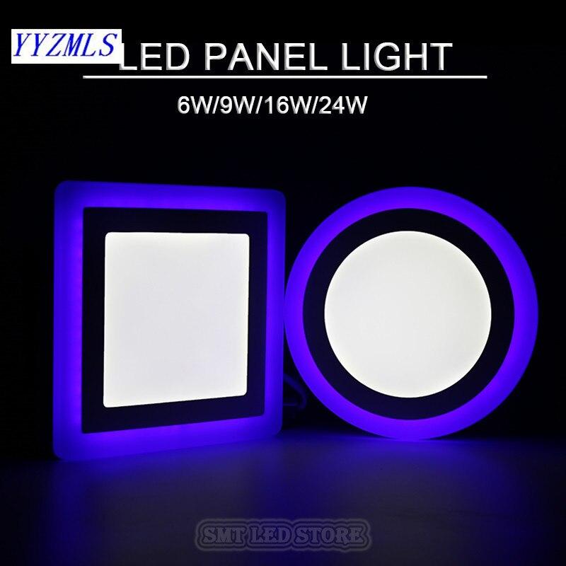 Новый 6 Вт 9 Вт 16 Вт 24 Вт Квадратный/Круглый <font><b>Led</b></font> Панель Света Поверхностного Монтажа светодиодов Светильник цвет потолок 85-265 В лампада <font><b>led</b></font> лампы &#8230;