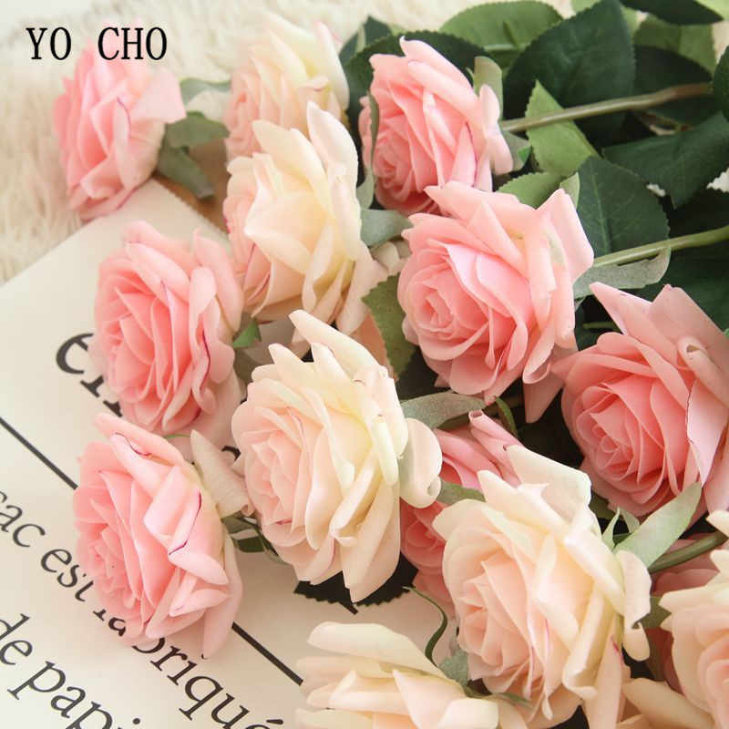 Yo Cho Artificial Flowers Silk Roses Pink Red White Wedding Bouquets Fake Peonies Home Party