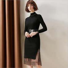 Womens long Knitted dress temperament French O-Neck knitted Jersey thickened over knee Lace splicing