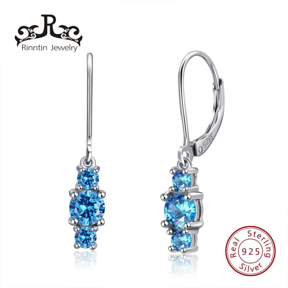 Rinntin 100% Solid 925 Sterling Women Drop Earrings Blue Color Long Dangle AAA Zircon Earring Silver Fine Jewelry TSE70-L