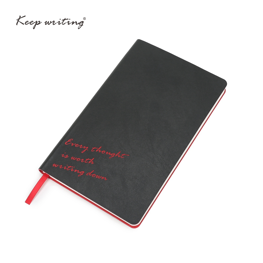LOGO Customized Black notebook A5 journal Diary PU leather soft cover lined pages planner notepad school stationery <font><b>100gsm</b></font> <font><b>paper</b></font> image