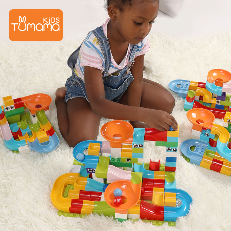 Tumama 104PCS Marble Race Run Maze Balls Slide Track Building Blocks Compatible  Animals DIY Toys For Kids Building Block