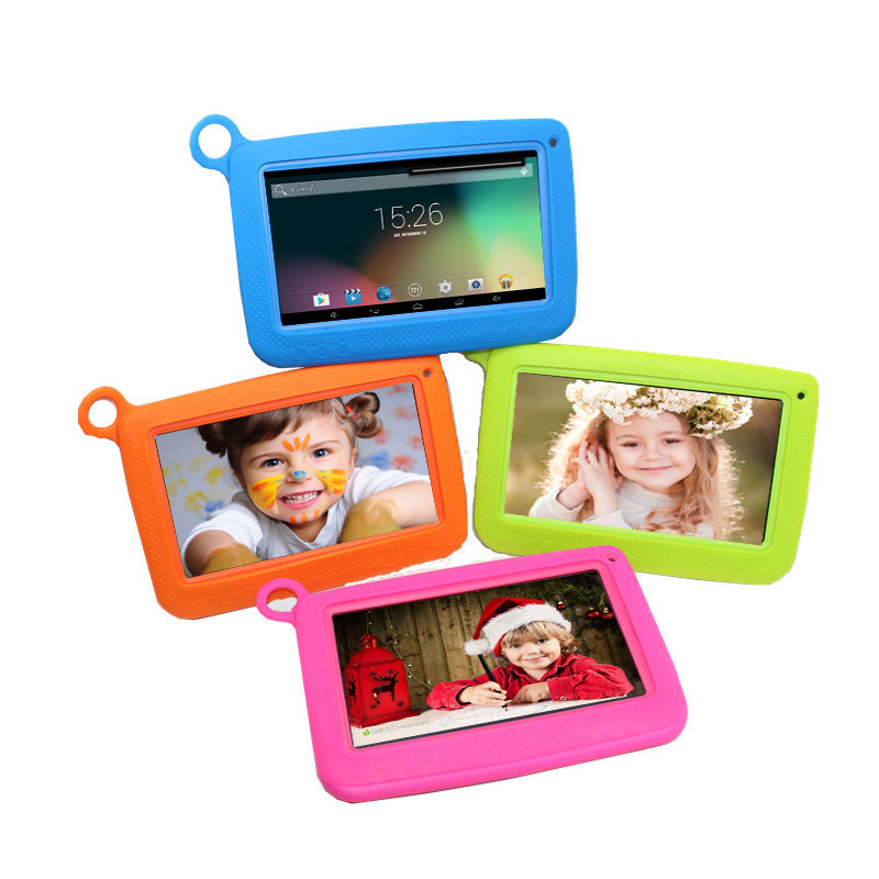 Q758 512MB/8GB 7 inch Allwinner A33 Quad Core Kids Tablet PC Android 4.4 Dual Camera 1024*600 wifi bluetoothSilicone CaseQ758 512MB/8GB 7 inch Allwinner A33 Quad Core Kids Tablet PC Android 4.4 Dual Camera 1024*600 wifi bluetoothSilicone Case