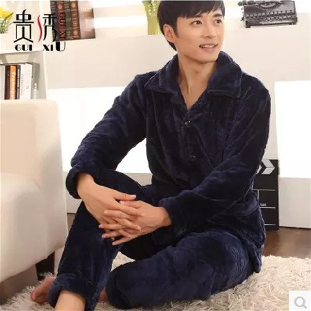 Men's Winter Pajamas Thickening Flannel Long sleeve Solid Color Pijama Men Lounge Pajama Set 4XL Mens Pyjamas