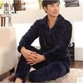 Pijamas de Inverno dos homens Espessamento Flanela de manga Comprida Cor Sólida Homens Pijama Set Lounge Pijama Pijama Dos Homens 4XL
