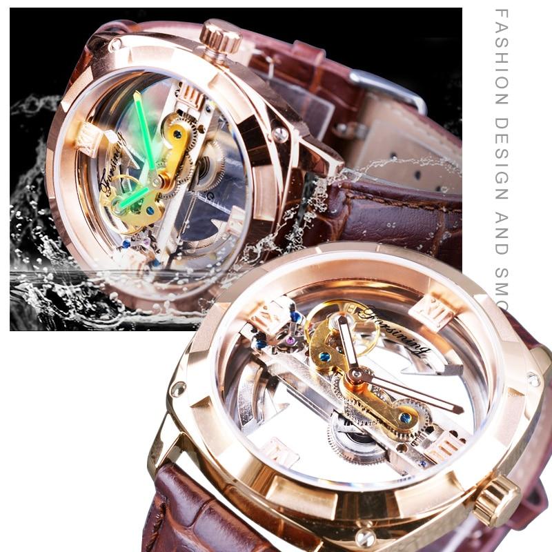 Transparent Double Side Watches Rose Golden Brown Genuine Leather Belt Open Work Waterproof Automatic Clock embroidered rose applique side split belt dress