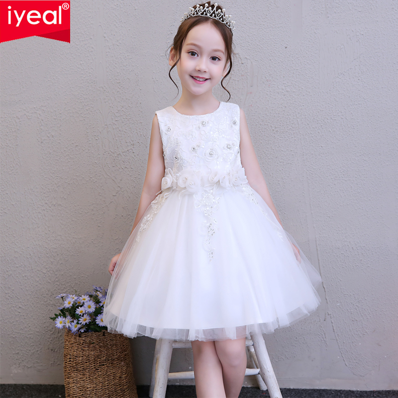 IYEAL Princess Girls Dress Kid Elegant Pageant Flower Girl Birthday Party Formal Dresses for Children Girl Wedding Clothes 4-12Y цена