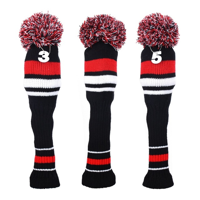 3pcs Knit Golf Head Covers Knitted Golf Club Head Covers Set Driver