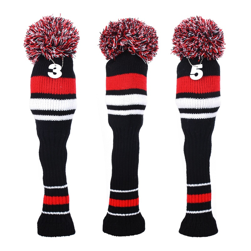 3Pcs Knit Golf Head Covers Knitted Golf Club Head Covers Set Driver Wood Headcovers Outdoor Golf Club-Making Products