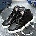 Zapatillas Botines de invierno al aire libre Para Los Hombres de LA PU de Cuero Zapatos de Skate Cremallera Zapatos Para Caminar negro Con Cordones de Tenis Chaussure Homme
