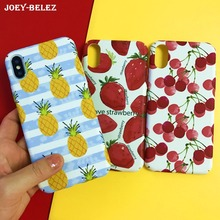 Cyato For iPhone X Case cartoon fruit cherry strawberry pineapple paint slim Hard PC Full Matte cover 6s 6 8 7 Plus