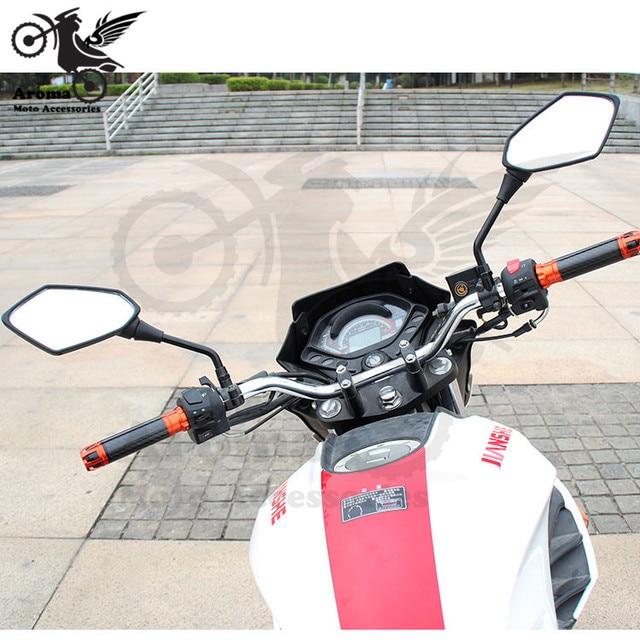black carbon fibre color universal 10mm 8mm screw motocross ATV Off-road dirt pit bike motorbike side mirror for benelli yamaha suzuki kawasaki honda cb500x cb650f pcx 125 accessories moto rearview motorcycle mirror 6