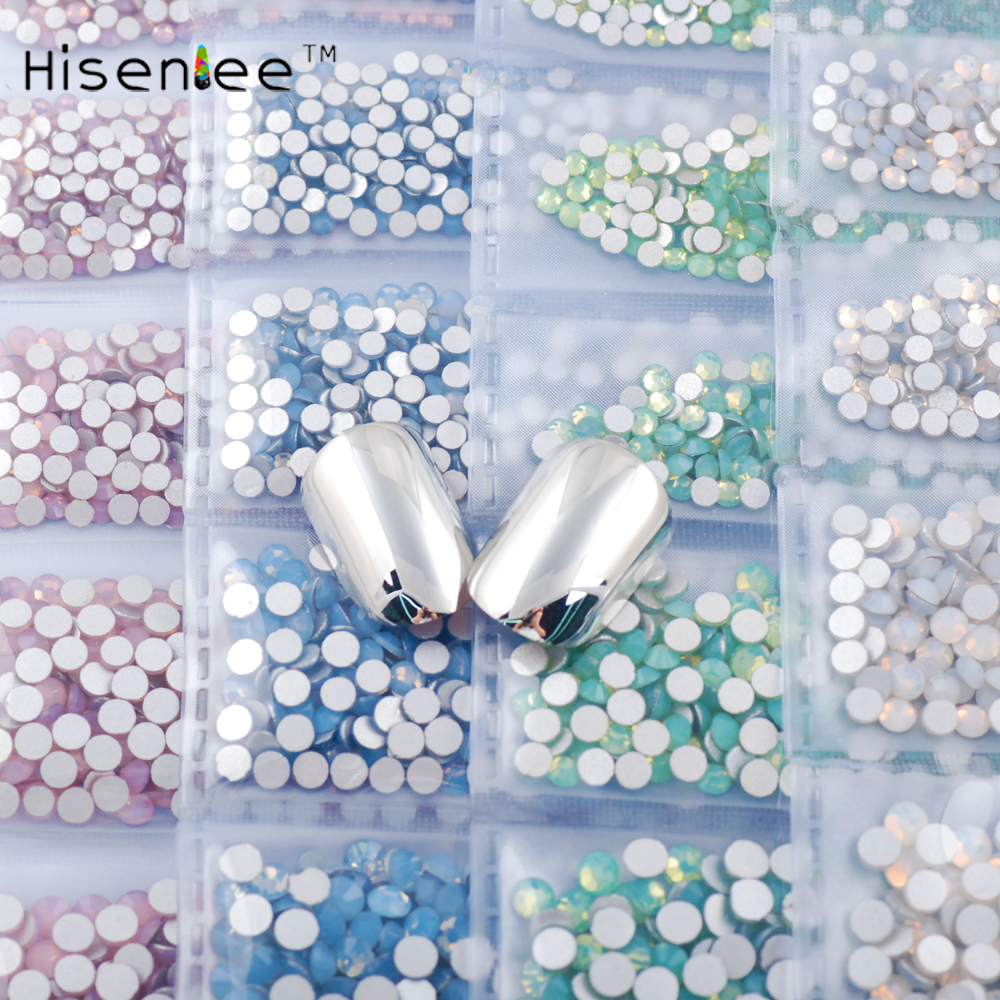 hisenlee 6 Colors 1680pcs Green White Pink Blue Opal SS3-SS10 Small Sizes Rhinestones Nail Art Crystal Glass Rhinestones Gems roomble подставка для украшений noreen