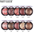 Party Queen Shimmer Bronzer Highlight Powder Blush Palette Makeup Stardust-Multi Silky Smooth Mineral Baked Cheek Color Blusher