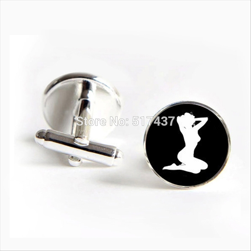 2018 New Fashion Sex Girl Cufflinks Pin Up Cuff link Sex Women Cufflink Glass Shirt Cufflinks Women